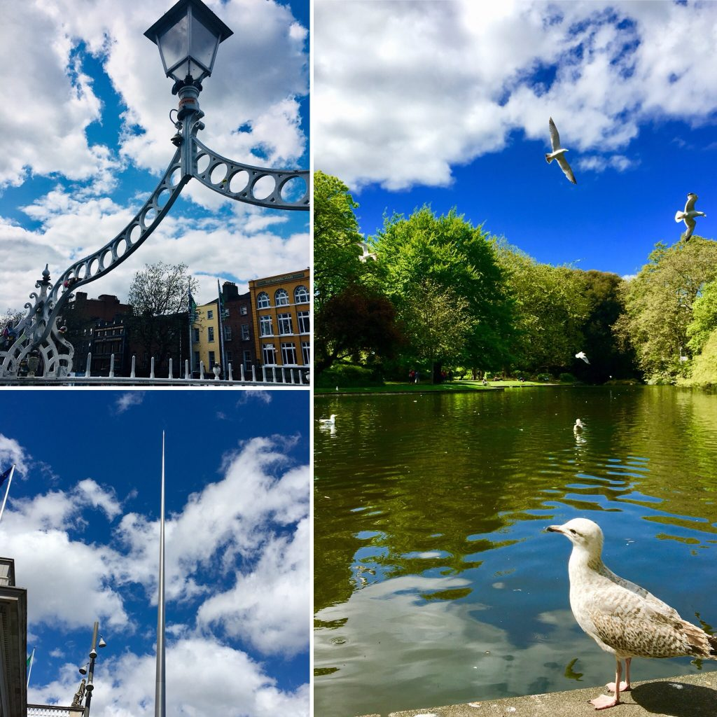 Ha´Penny bridge, Spire, St Stephen´s green park