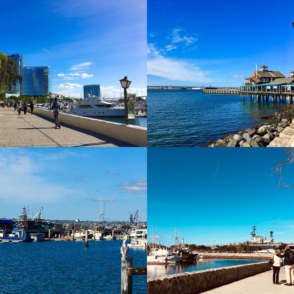 Parte más moderna con la zona deportiva, área de restauración, zona pesquera y portaviones USS Midway