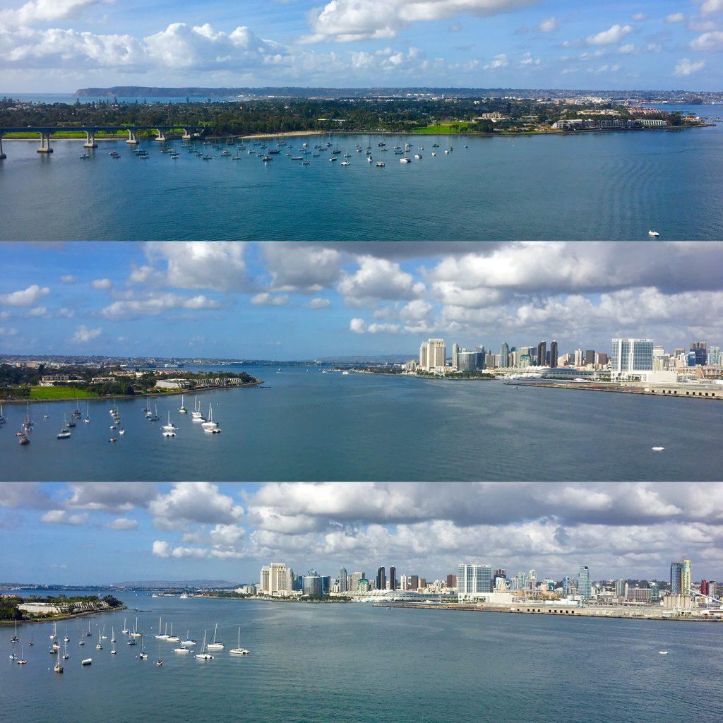 Imagen superior: vistas de la isla del Coronado; Imagen media: isla del coronado y Bahía de San Diego; Imagen inferior: Bahía de San diego