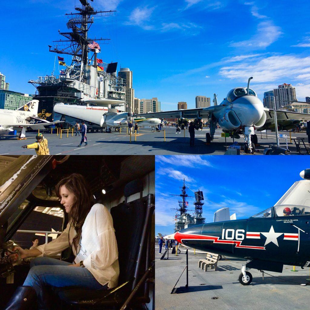 Aeronaves en el USS Midway. Buque museo, San Diego. California