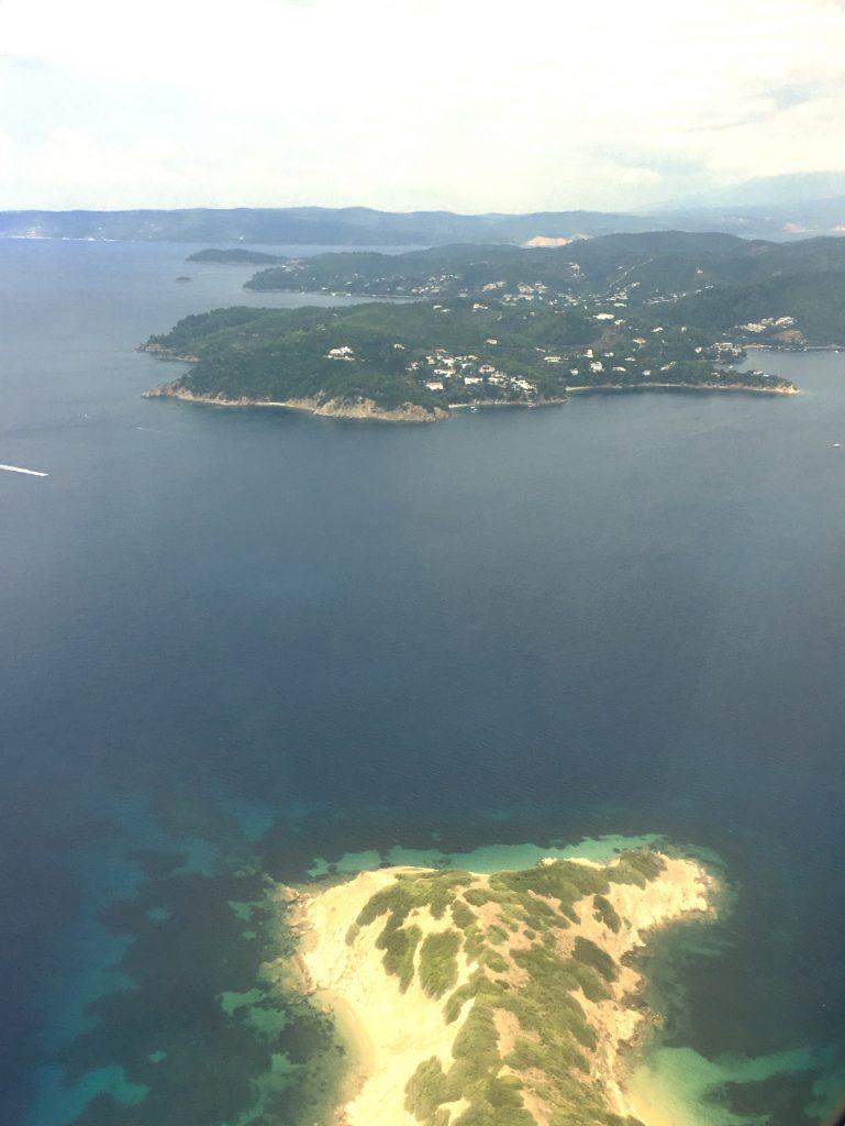 Skiathos, vistas aereas, islas Esporadas, Grecia, Islas griegas, turismo europeo, verano